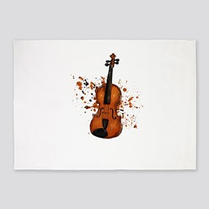Awesome Violinist Violin Paint Spla 5'x7'Area Rug
